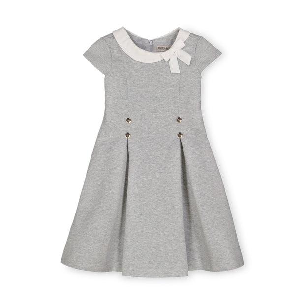 Pleated Ponte Dress with Woven Collar and Bow - Hope & Henry Girl