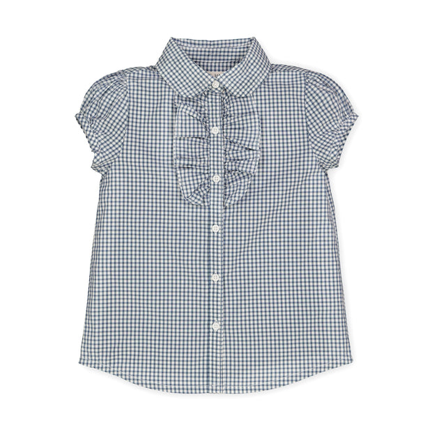 Ruffle Front Shirt with Puff Sleeves-Tops-Hope & Henry