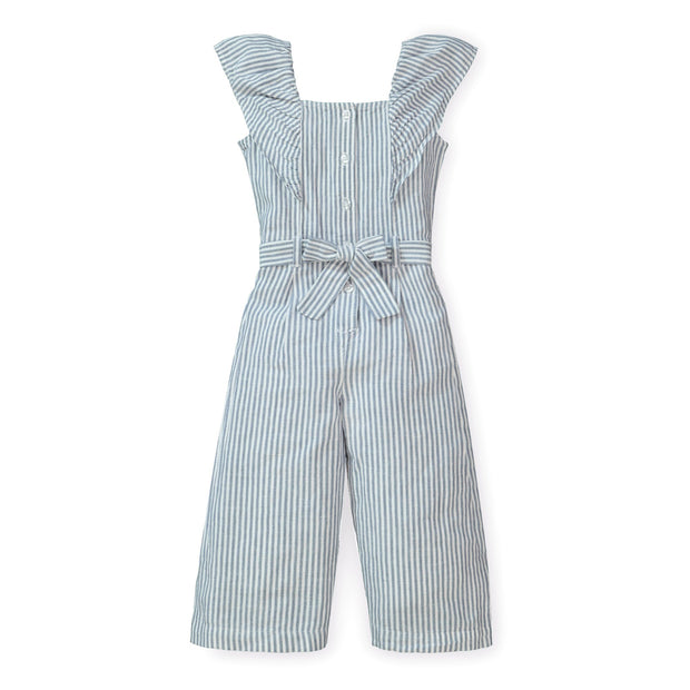 Hope /& Henry Girls Wide Leg Short Ruffle Sleeve Jumpsuit with Button Front