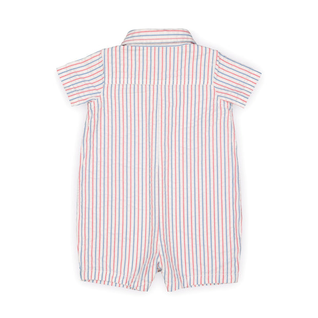 Seersucker Button Front Romper - Hope & Henry Baby