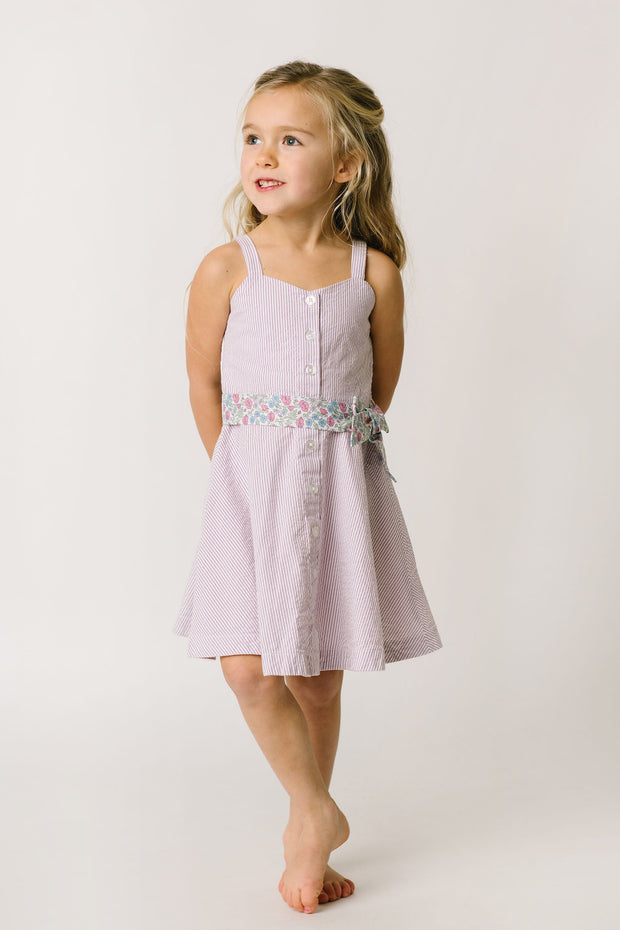 Seersucker Sun Dress with Sash - Hope & Henry Girl