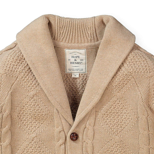 Shawl Collar Cable Cardigan - Hope & Henry Men
