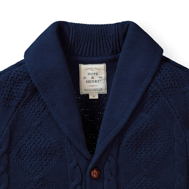 Shawl Collar Cable Cardigan - Hope & Henry