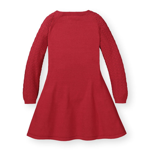 Skater Sweater Dress with Pointelle Sleeves - Hope & Henry Girl