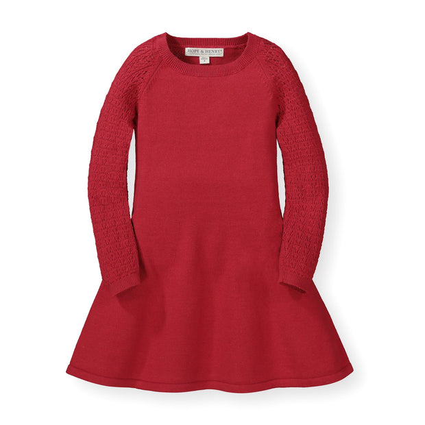 Skater Sweater Dress with Pointelle Sleeves - Hope & Henry