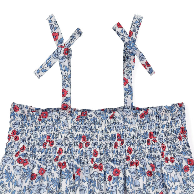 Smocked Romper with Bow Shoulders - Hope & Henry Baby