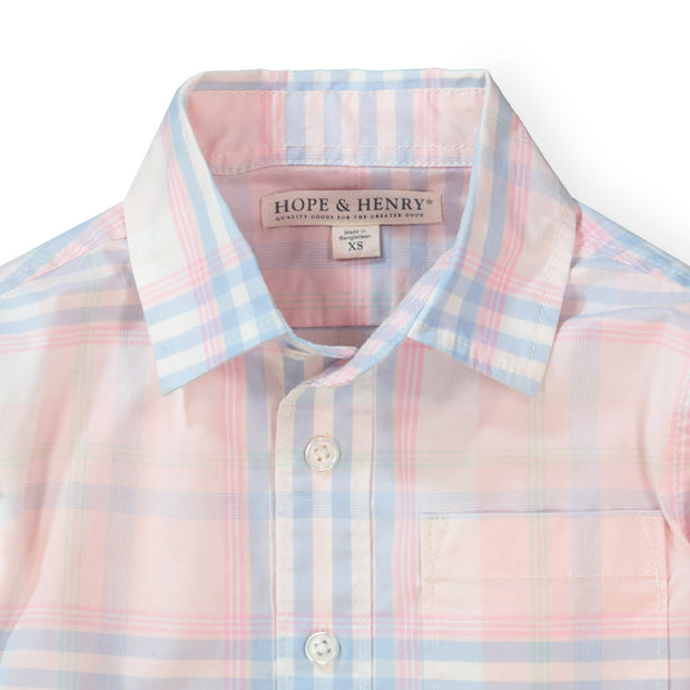 Stretch Poplin Button Down Shirt - Hope & Henry Boy