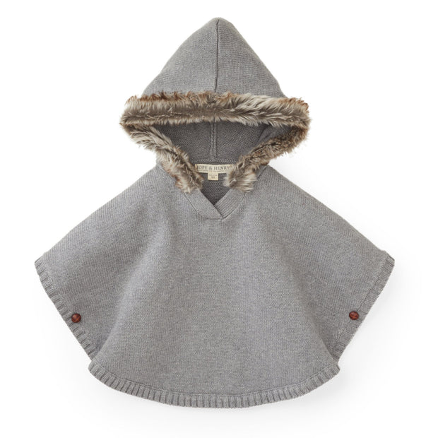 Sweater Cape with Faux Fur Hood - Hope & Henry
