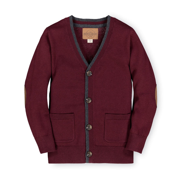 Tipped Cardigan with Elbow Patches-Sweaters-Hope & Henry