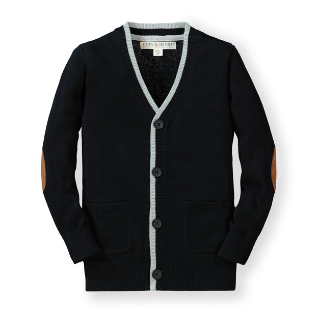 Tipped Cardigan with Elbow Patches - Hope & Henry