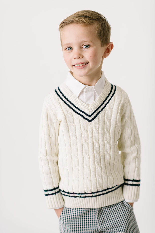 V-Neck Cricket Sweater - Hope & Henry Boy