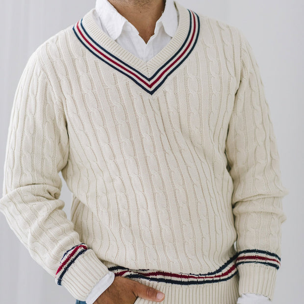V-Neck Cricket Sweater - Hope & Henry Men