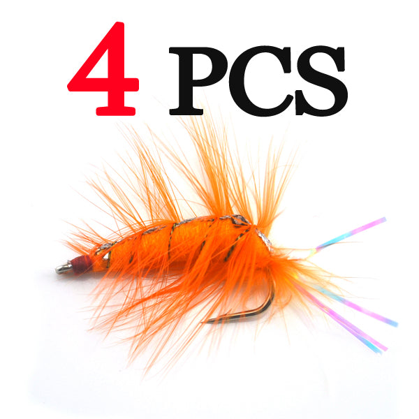 4Pcs Orange Shrimp Saltwater Bait Fish Flies
