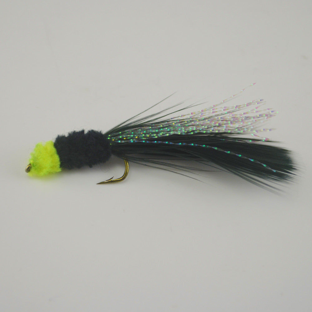 6PCS Black Egg Sucking Leech Fly Yellow head Marabou
