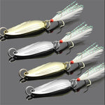 1PCS Metal 3.4 cm 3g/5g Gold Sliver Sequins with Feather Fishing Lures Spoon Lure