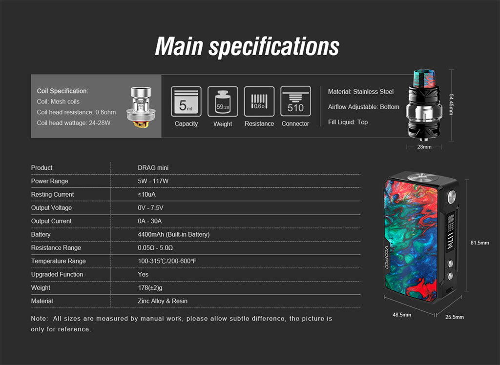 VooPoo Drag Mini Wholesale Specifications
