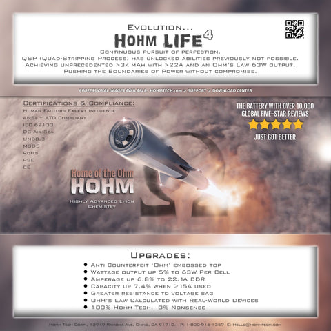 "Hohm Tech ""Hohm Life 4"" Battery 18650 (Single) - WholesaleVapor.com"