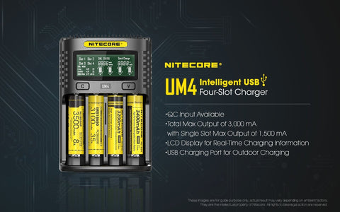 Nitecore UM4 Four-Slot Intelligent Charger - WholesaleVapor.com