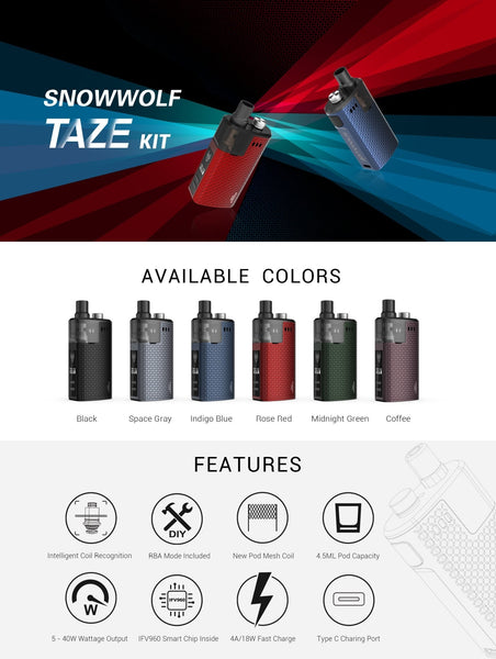 Snowwolf Taze Pod Kit - WholesaleVapor.com