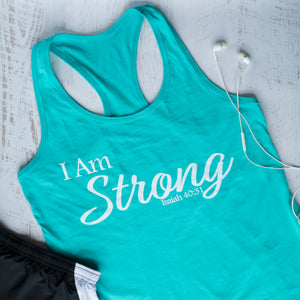 I Am STRONG Racerback Tank - Teal