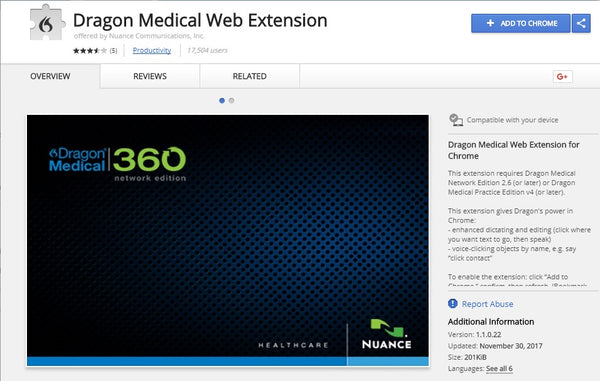 Dragon Medical Practice Edition 4 Web Extension for Chrome