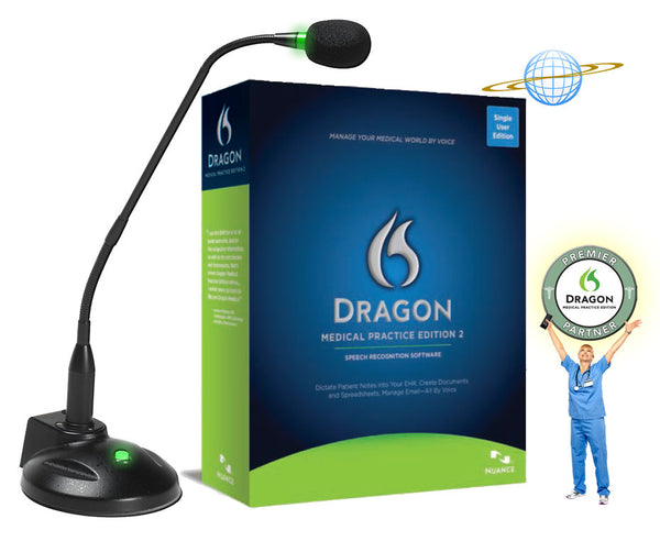 Dragon Medical Practice Edition 2 with Miclabs Super-G Desktop Microphone