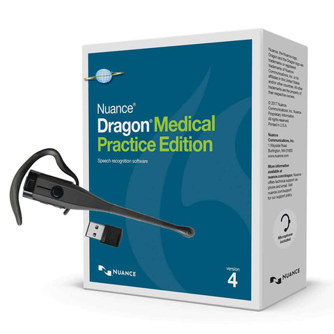 Dragon Medical Practice Edition 4 with VXI Bluetooth Wireless Headset Microphone