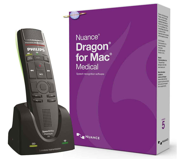 Dragon Medical for Mac Edition 5 with wireless Philips Speechmike Air Premium