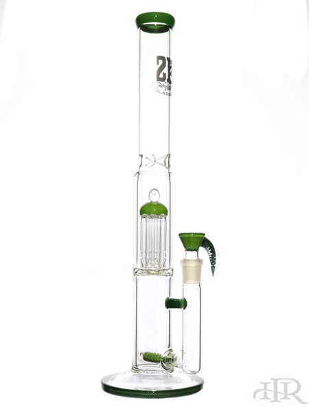 "2K Glass Art - Stemline Diffuser Straight Tube With Tree Perc (18"") Green"