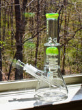 "Medicali Slime Beaker - 8 Tree Perc (10"") Dry Herb Flower Bong Water Pipe White Block"