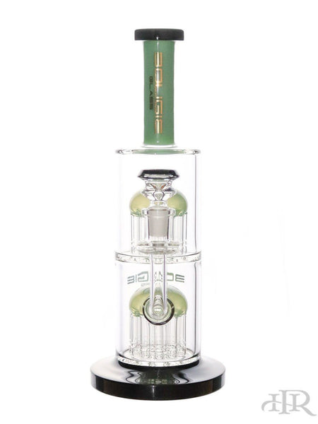 Bougie Glass - Double Tree Perc Tube Green and Black
