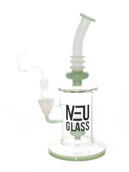 "Neu Glass Concentrate Rig Shower Head 11"" Height Oil Pipe Dab Rig Jade"