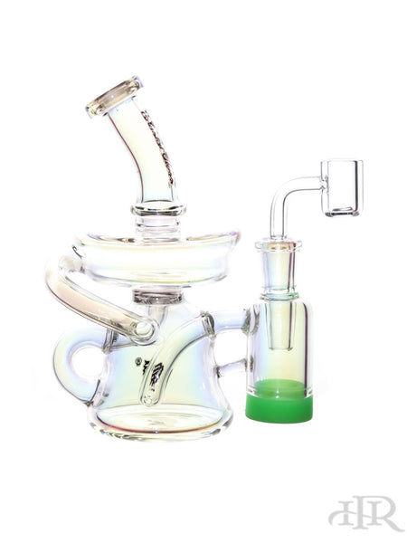 "Crystal Glass - Iridescent Recycler Rig With Built In Removable Lid Reclaim Catcher (7"")"