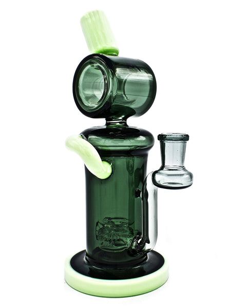 "Mav Glass Two-Tone Barrel Recycler 8"" Height Slime & Black Glass Incycler Dab Rig Maverick Glass Oil Rig"