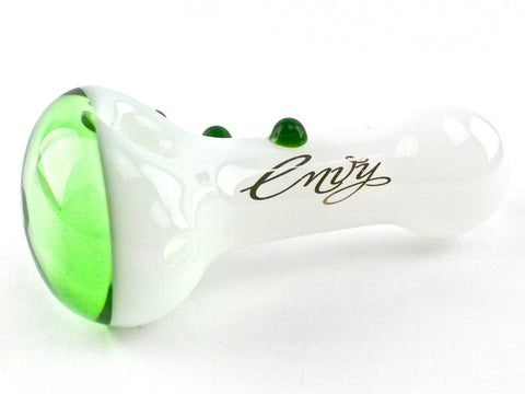 Envy Glass White Spoon - Dichroic Green