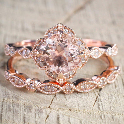 Boho Vintage Wedding Band Set