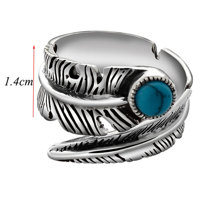 Vintage Turquoise Feather Ring