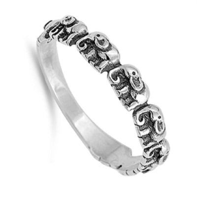 Marching Elephants Silver Ring