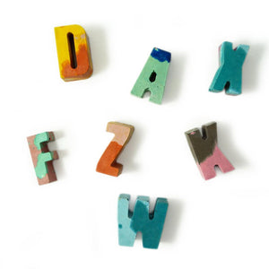 concrete colorful mini letters