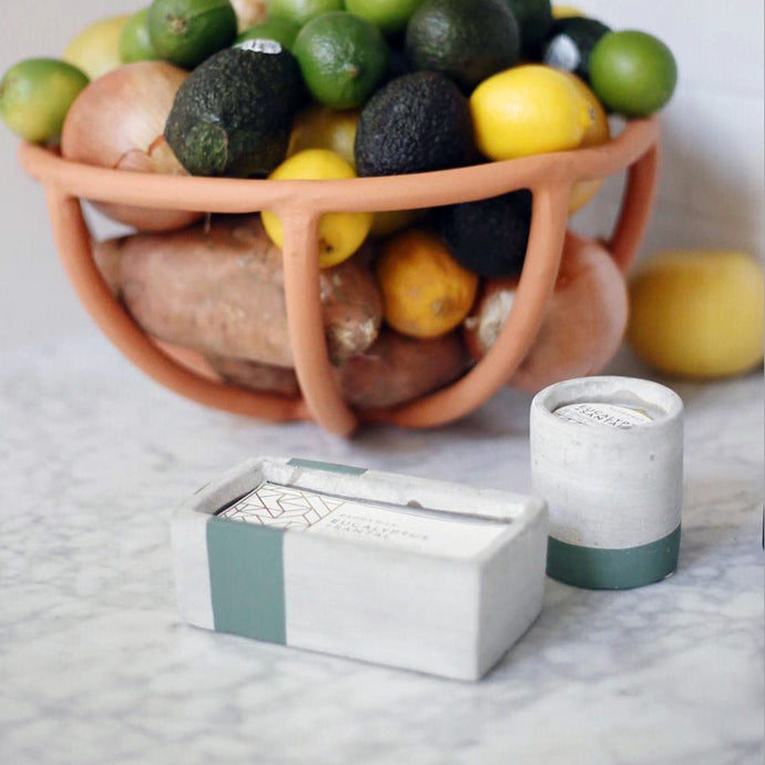 concrete fragranced candle // eucalyptus + santal