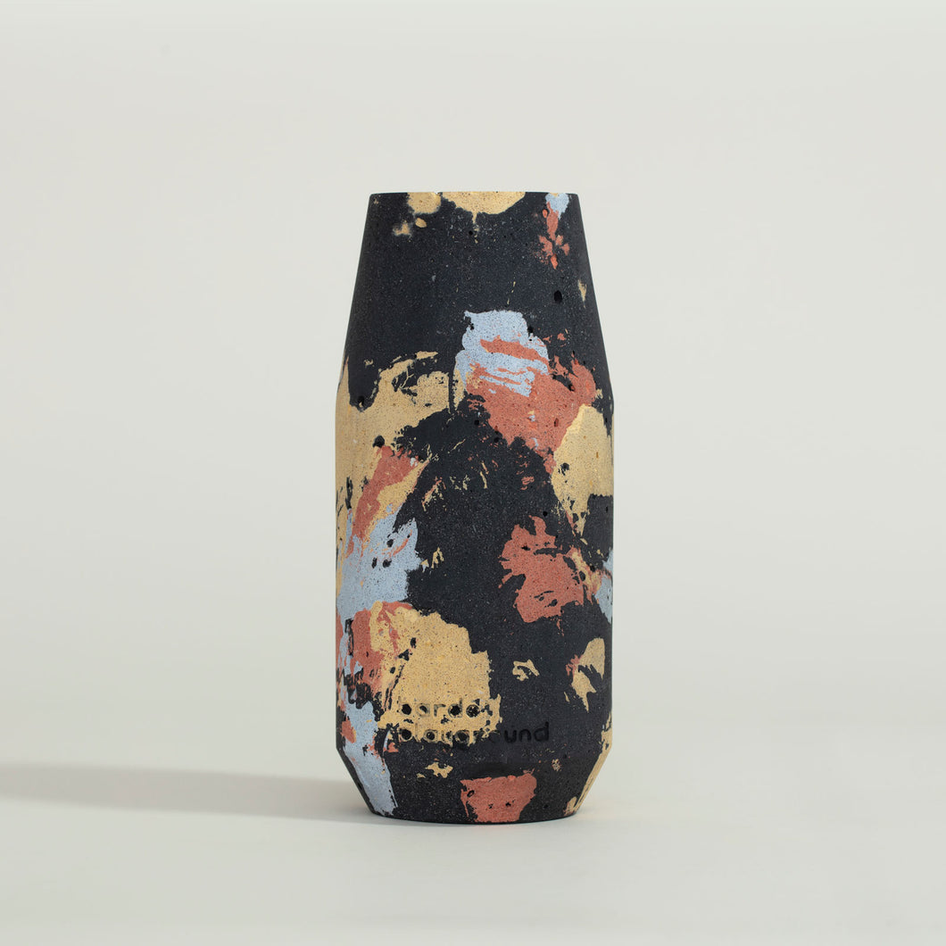 concrete black, blue, red + yellow vase