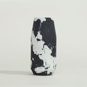 concrete black + white vase