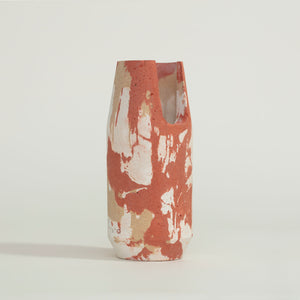 concrete red, white + curry vase