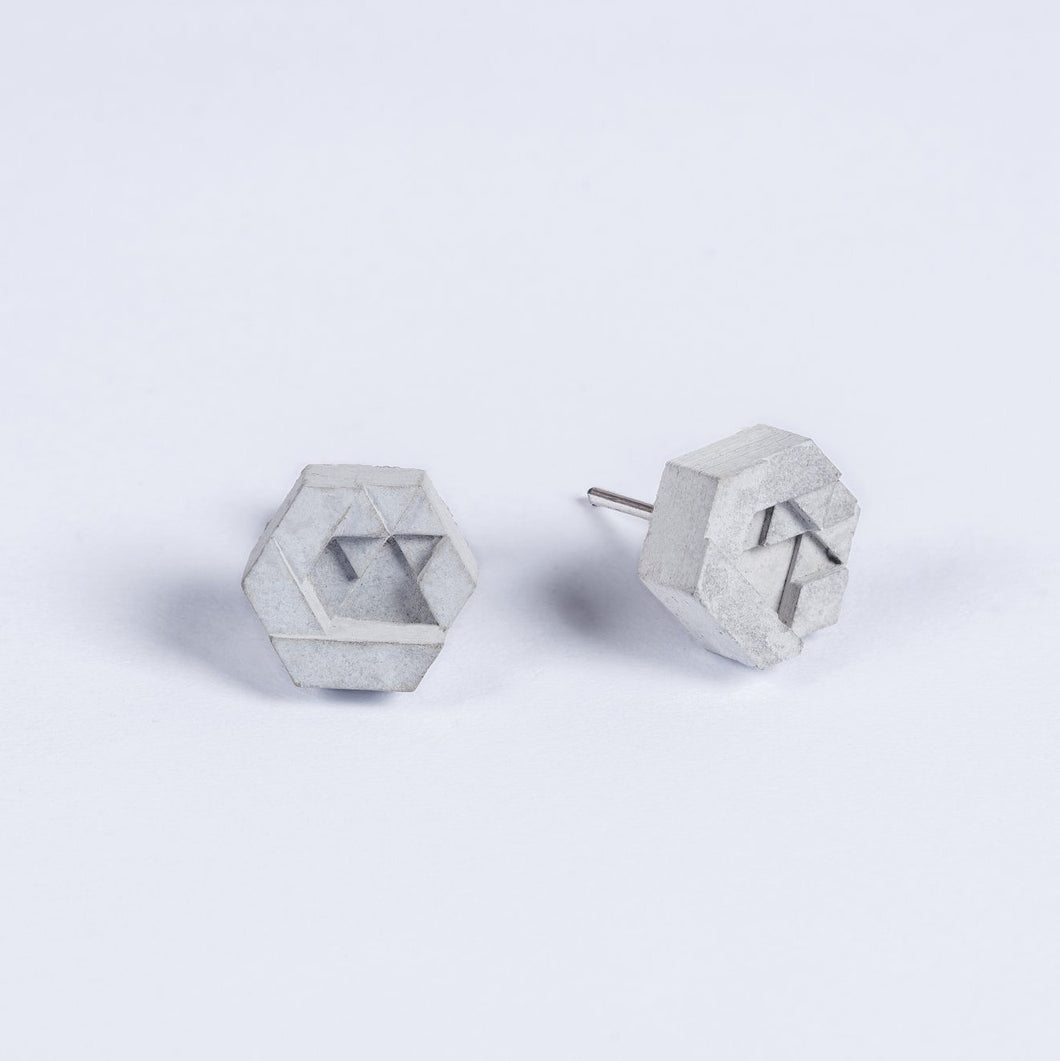 concrete micro hex earrings