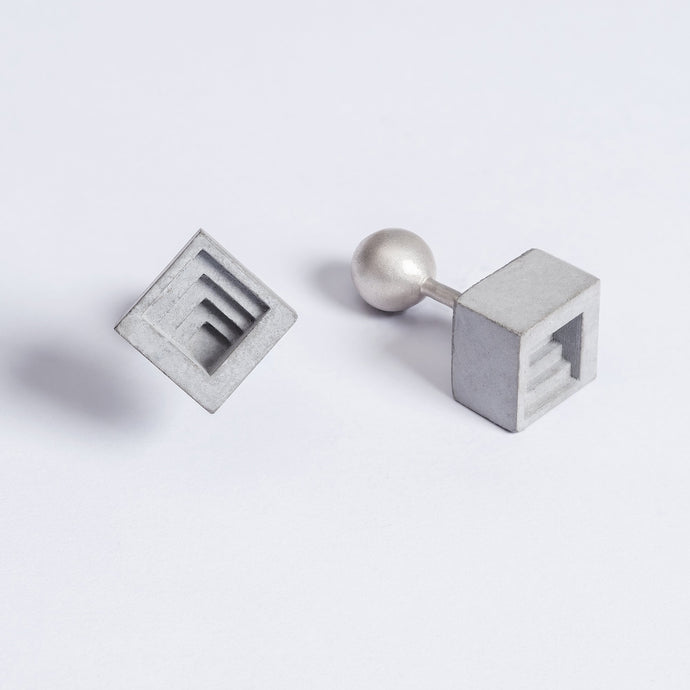 concrete micro square cufflinks