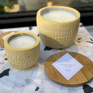 concrete etched candle // fresh meyer lemon
