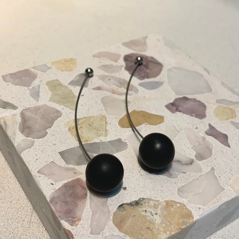 concrete + stainless long earrings