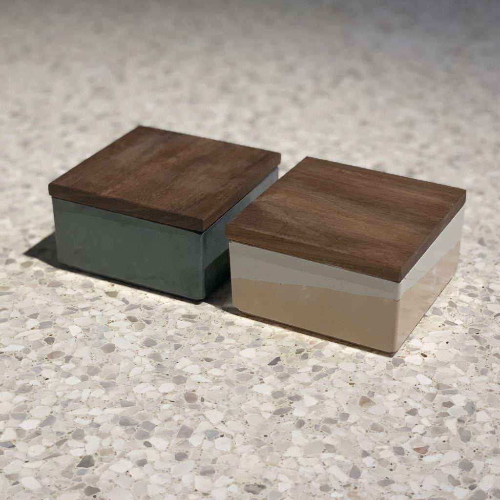 concrete stacker with walnut lid