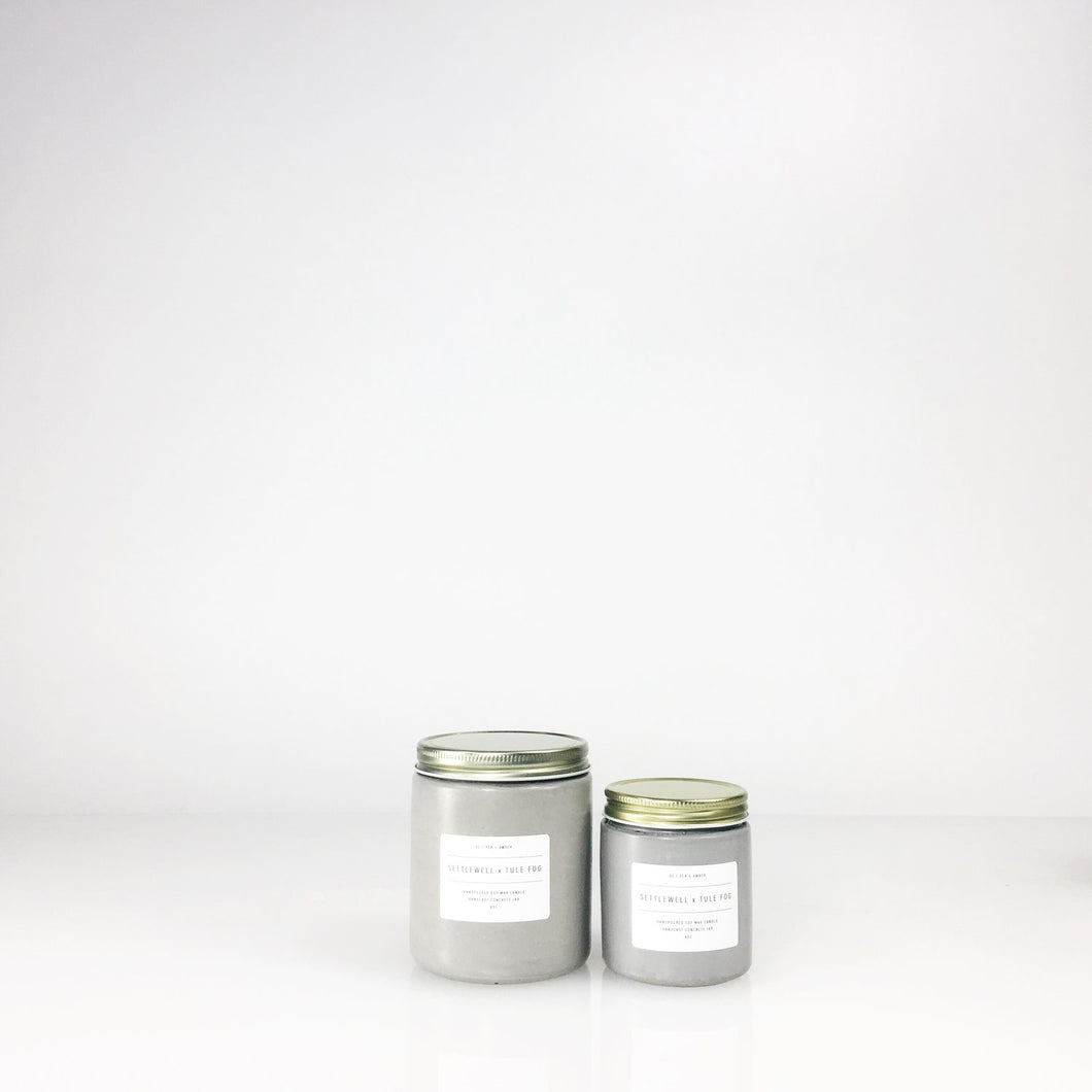 concrete jar candles // sea + amber