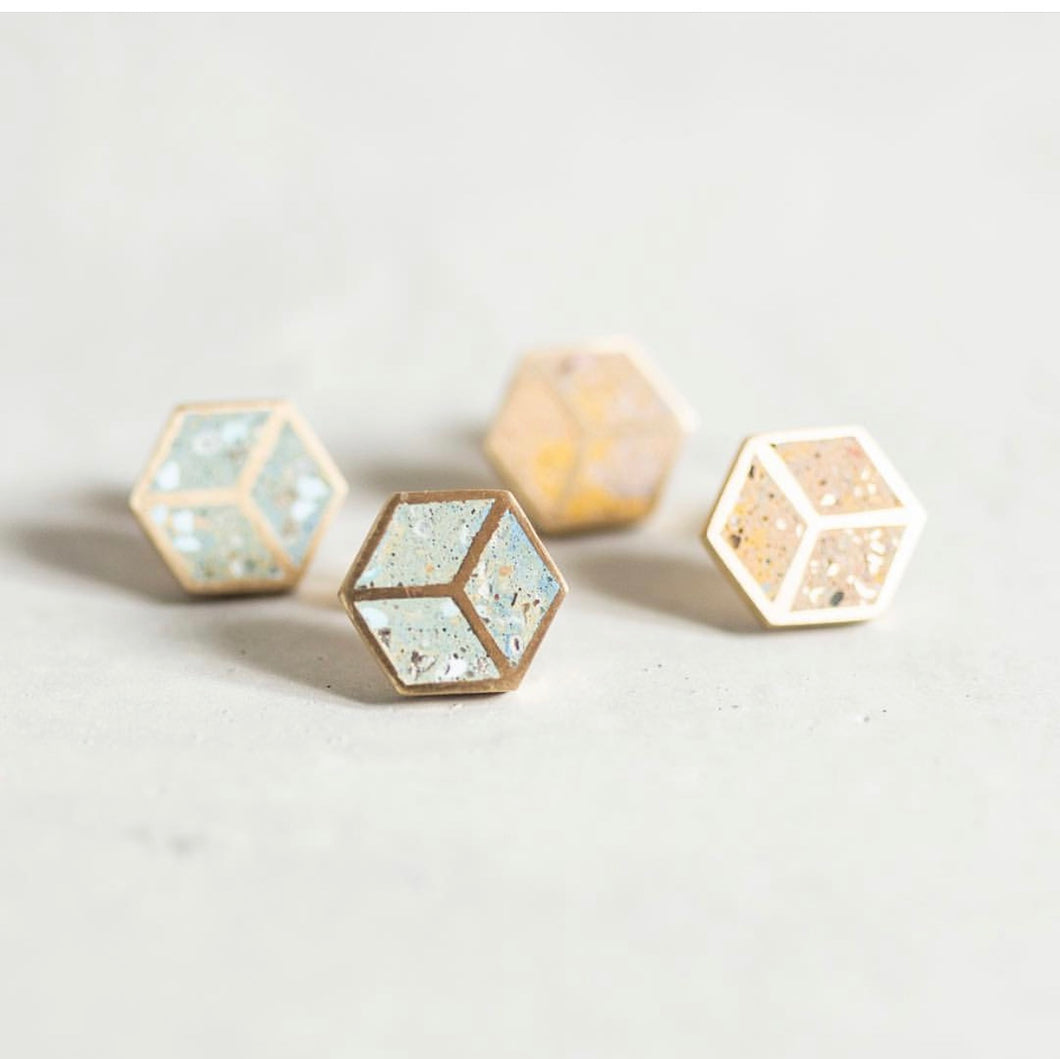 concrete hex earrings